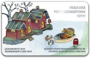 Suomen postcrossingyhdistyksen jäsenkortti 2019 - kuvittaja Minna Lehväslaiho