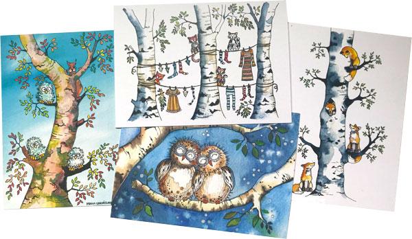 Minna Lehväslaihon kuvittamia postikortteja